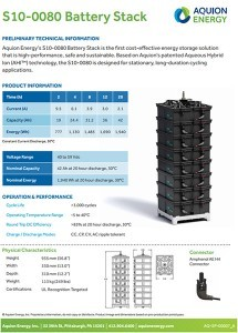 Aquion Energy S10 Battery Stack data sheet