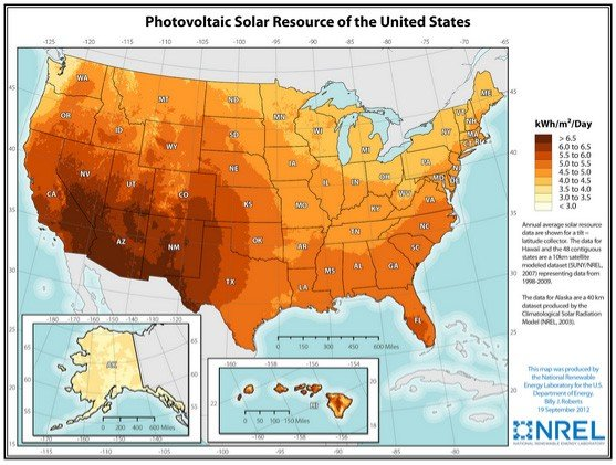 Photovoltaic Solar Resources of the United States - Insolation Map