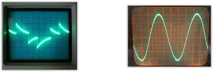 Modified Sine Wave and Pure Sine Waves on Oscilloscope