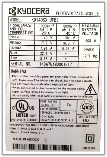 Solar panel label with STC ratings