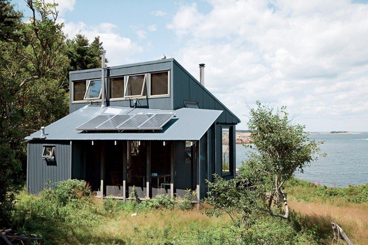 Home in Maine designed by Alex Scott Porter goes solar with this off-grid system. Photo by Eirik Johnson.