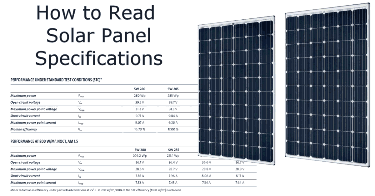 how do i read the solar panel specifications
