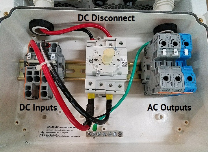 SolarEdge Inverters insides with the Safety Switch with DC and AC Connectors