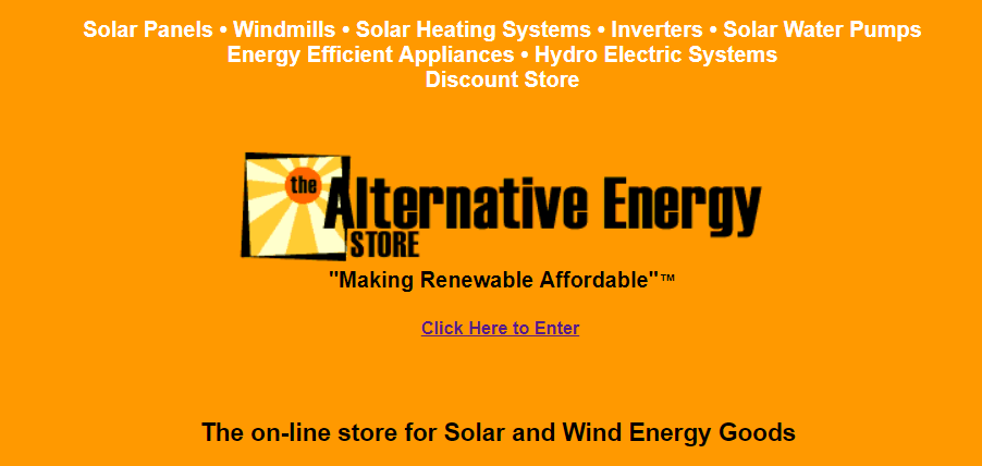 Landing page for the altE - then Alternative Energy Store - website from the early 2000s