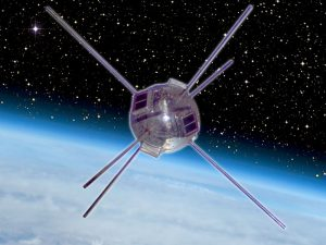 An artists rendition of Vanguard 1 in space