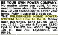 "Ad for ""Wilderness Home Power System and How to Do It"" from a February 1979 edition of Popular Science"