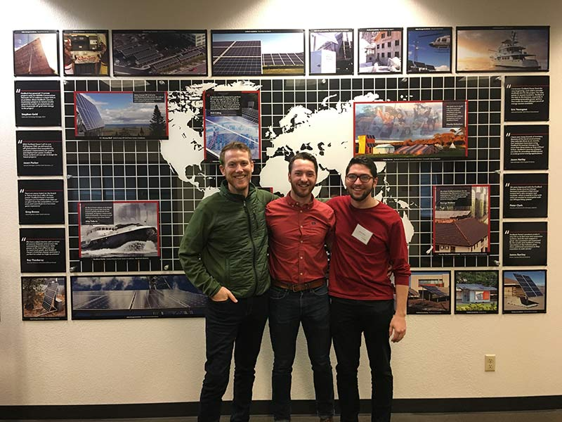 Real Goods' Garrett McCutcheon with altE's Nate Dooley and Jacob Solon during an energy storage training session for solar professionals at the OutBack Power facility in Arlington, WA