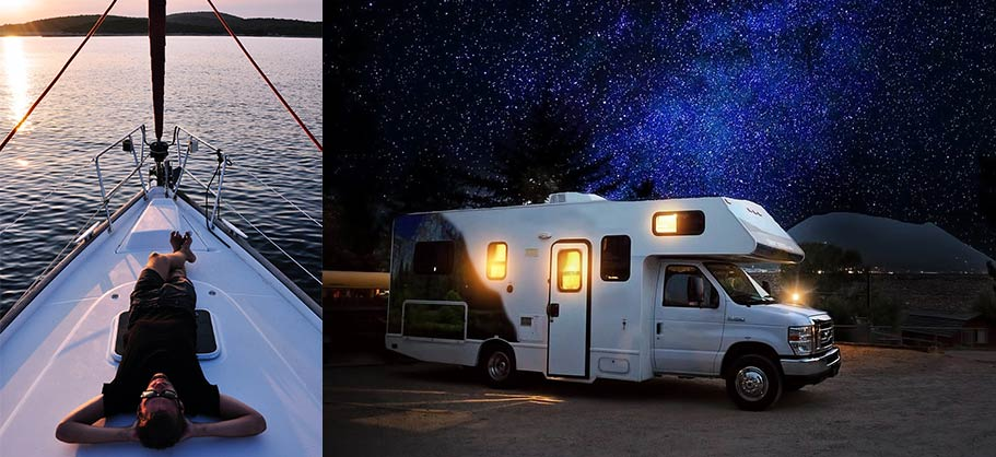 on the left, a man relaxing on a boat. on the right, an RV with lights on inside at night