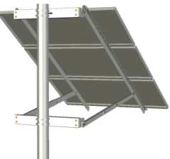 Ironridge Side of Pole Mount for three solar panels