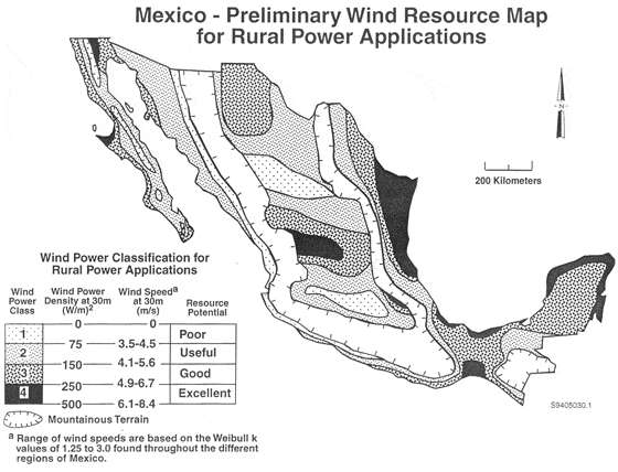 Wind Resource Map for Mexico