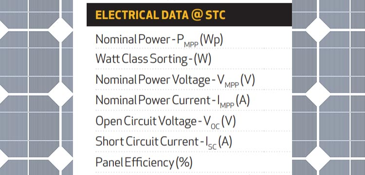 electrical specifications on a solar panel