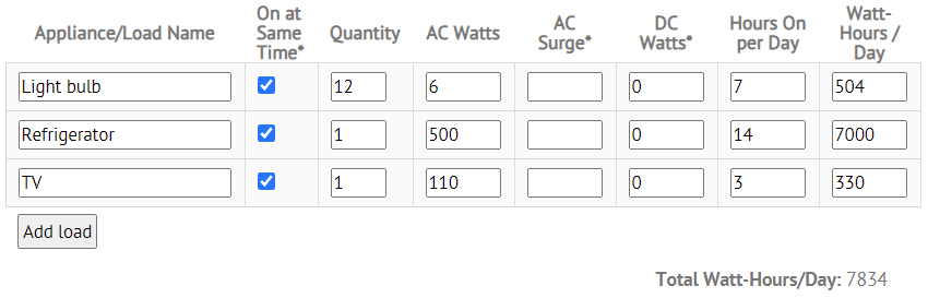 screen shot of the altE Load Calculator