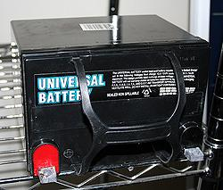 a sealed battery laying on its side
