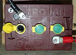 top-down view of a flooded lead acid battery