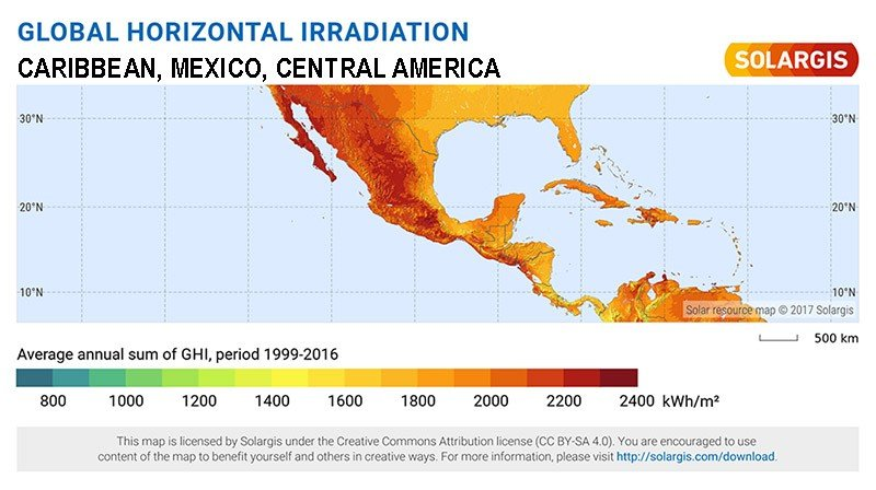 Solar Maps for the Caribbean, Mexico & Central America