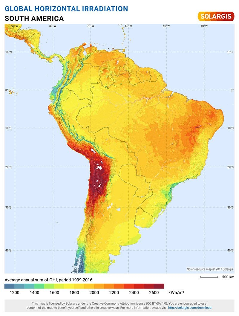 Solar Maps for South America