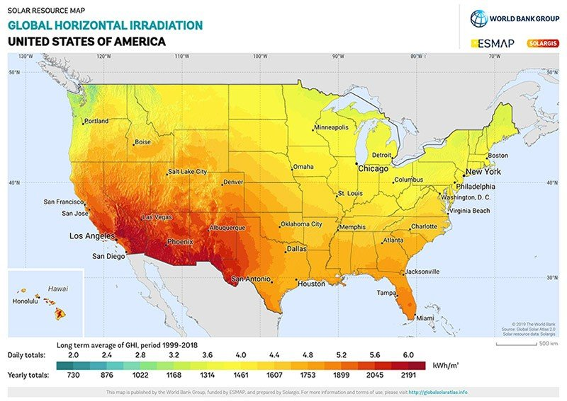 map of solar insolation in the United States
