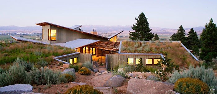 an energy efficient home built into the land