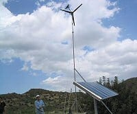 Lakota Wind Turbine installation with solar panels