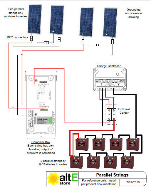 schematic wiring solar panels in series and parallel alte rh altestore com Wiring 12V Batteries in Parallel Series Battery Wiring Diagram