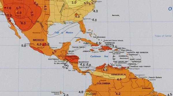 Solar Insolation Map - Caribbean, Mexico & Central America ...