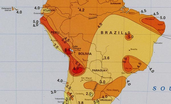 Solar Insolation Map South America Alte