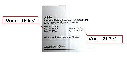 PV Label showing voltage