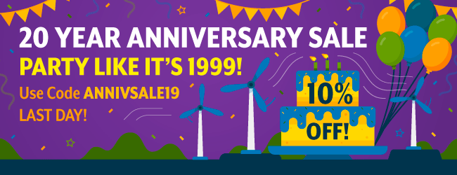 10% Off! 20 Year Anniversary Sale