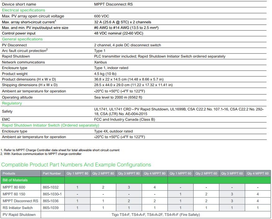 Schneider RS Solution- Specifications