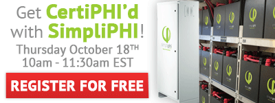 Get CertiPHI'd with SimpliPHI! Thursday October 18th 10am-2pm at altE Headquarters in Boxborough, MA