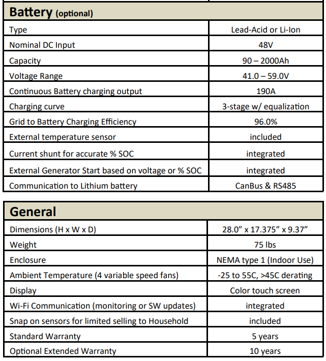 Sol-Ark Specifications Battery