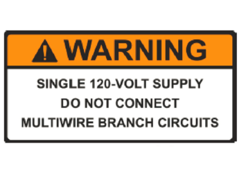 NEC 2014 Compliant Label: Warning - Single 120-Volt Supply