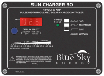 Blue Sky Energy Sun Charger 30, 30A, 12V Solar Charge Controller with Display