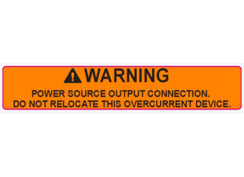 NEC 2017 Compliant Label: Warning - Power Source - Do Not Relocate