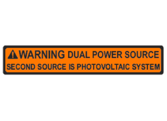 NEC 2014 Compliant Label: Warning -Dual Power Source