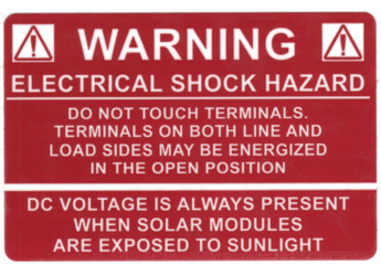 NEC 2011 Compliant Label: Electric Shock Hazard / DC Voltage Label
