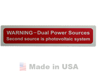 NEC Compliant Label: Dual Power Source