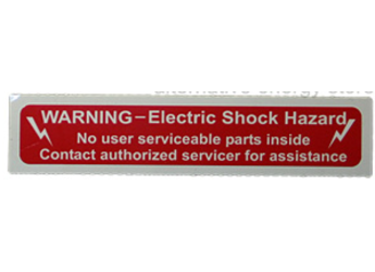NEC Compliant Label: Electric Shock Hazard