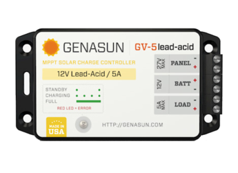 Genasun GV-5-Pb-12V, 5A MPPT controller with LVD for 12V Lead Acid Batteries