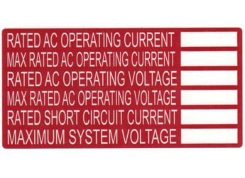 NEC 2011 Compliant Label: Inverter AC Rating Label
