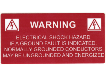 NEC 2011 Compliant Label: Warning Grounded Conductors Energized Label