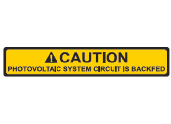 NEC 2014 Compliant Label: Caution - PV System Circuit is Backfed