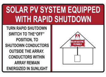 NEC 2017 Compliant Label: Rapid Shutdown Switch - Red House