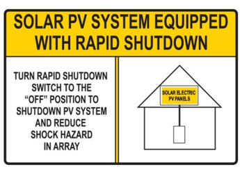 NEC 2017 Compliant Label: Rapid Shutdown Switch - Yellow House