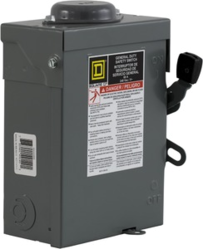 Square D DU222RB 60A 240VAC Unfused Disconnect, 2 pole
