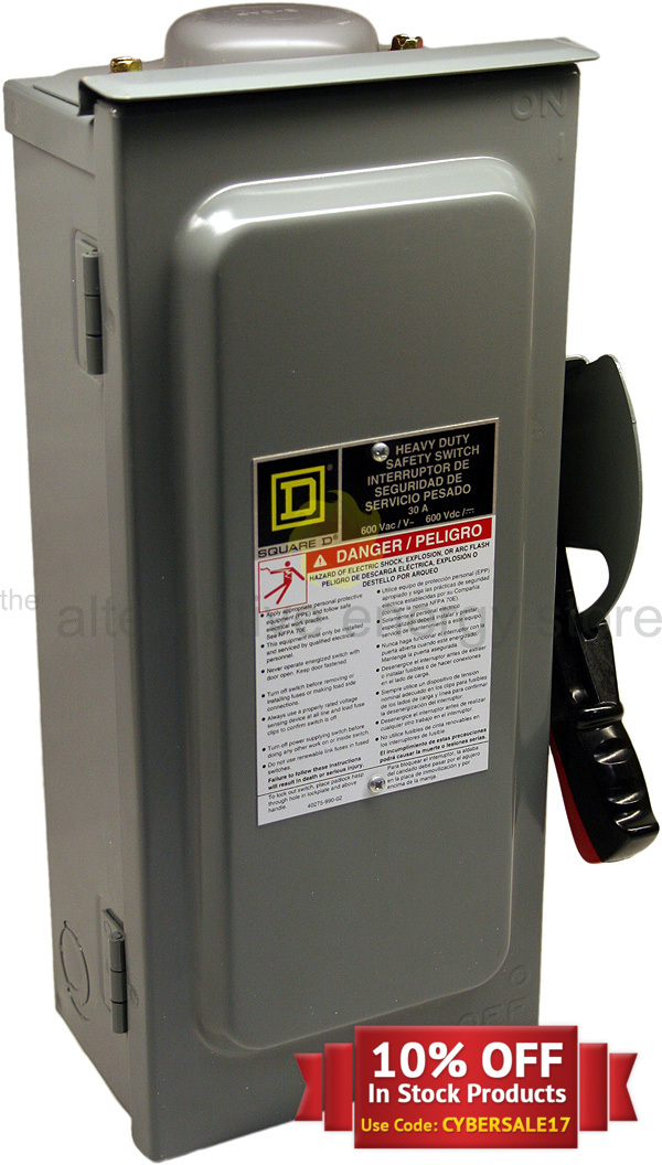 squared hu361rb 600v dc 30 amp 3 pole disconnect switch from altEstore.com squared hu361rb 600v dc 30 amp 3 pole disconnect switch alte eaton general duty safety switch wiring diagram at pacquiaovsvargaslive.co