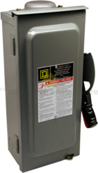 SquareD H361RB 30A, 600V DC Fusible Safety 3-Pole Disconnect Switch, NEMA 3R