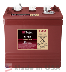 Trojan T-105 6V, 225AH (20HR) Flooded Lead Acid Battery