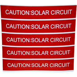 PV Safety Label: CAUTION SOLAR CIRCUIT, Sheet of 5