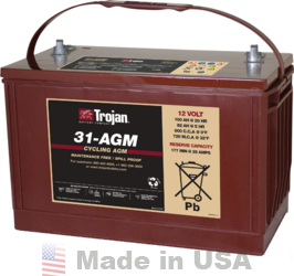 Trojan 31-AGM 12V, 100AH (20HR) AGM Sealed Battery